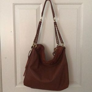 Leather over the shoulder tote